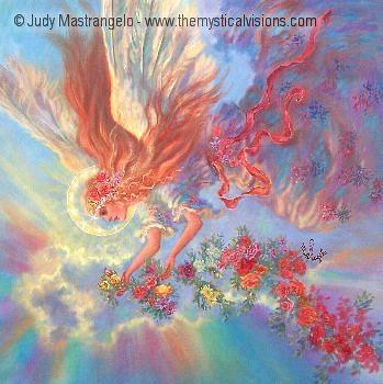 Angel With Flower Garland-