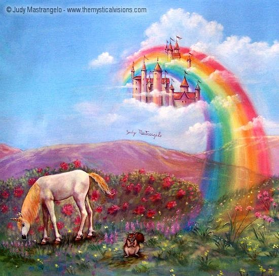 Unicorn And Rainbow Cloud Castle
