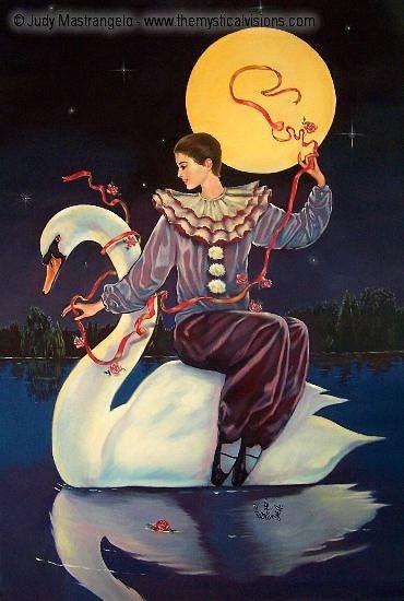 Pierrot Riding Swan