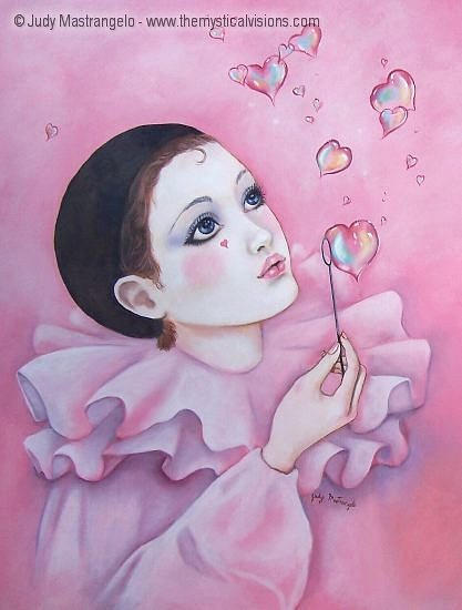 Mime Blowing Heart Bubbles