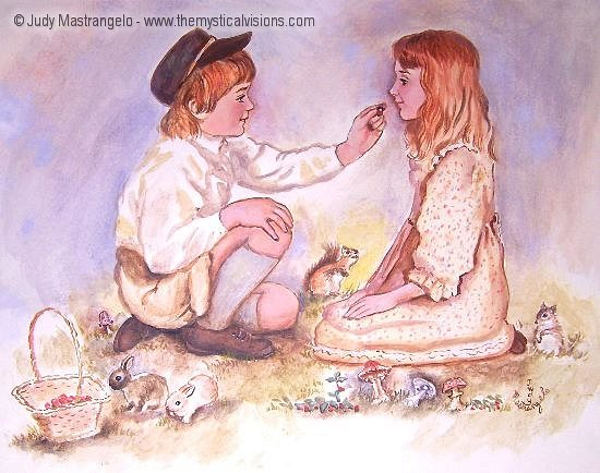 Hansel And Gretel Eating Berries-
