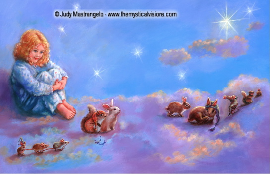 Girl with Little Animals In Clouds-