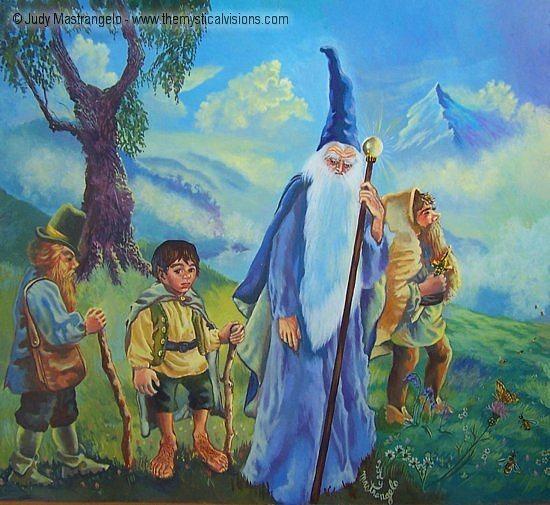 Hobbits and Gandolf-
