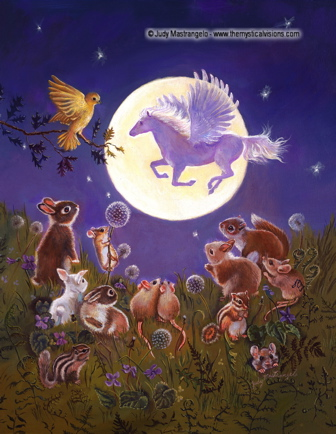 LITTLE ANIMALS LOOKING AT THE MOON-