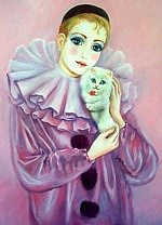 Pierrot with White Kitten