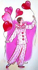 Pierrot with Heart Balloons